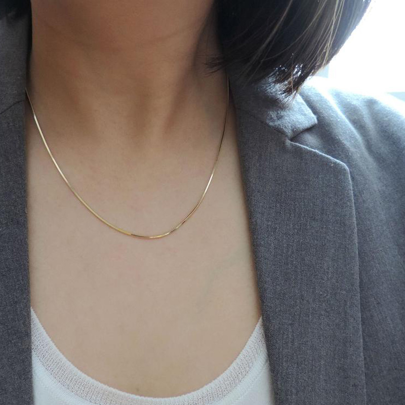 Gold Color Women Snake Chain Necklace 1mm Ultra Thin Round Choker Necklace Stainless Steel Valentines Gift 16\