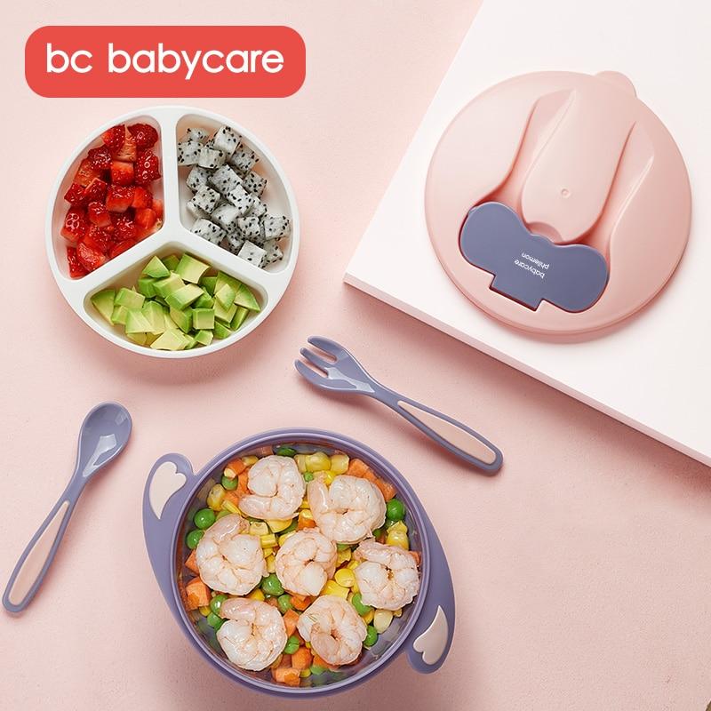 bc babycare anti deslizamento destacavel succao bebe alimentacao conjunto toddles criancas auto treinamento de alimentacao utensilios