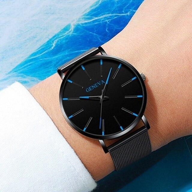 Moda de luxo masculino minimalista relógios ultra fino preto malha aço inoxidável banda relógio de negócios casual analógico relógio de quartzo 1