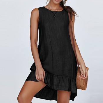 Ruffle Sexy Women Dress Fashion Sleeveless Solid Color Casual Pleated Loose Summer Dress Black Summer Dresses For Women 2021 2