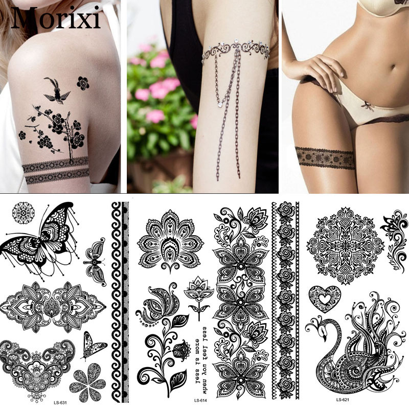 Black Henna Arm Tattoos Big Size Sexy Flower India Mandala Inspired Body Sticker  Legs Bracelet Temporary Tattoo RA018