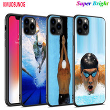 Black Silicone Case Michael Phelps Swimming for iPhone 11 11Pro XS MAX XR X 8 7 6S 6 Plus 5S Gloss Phone Cover