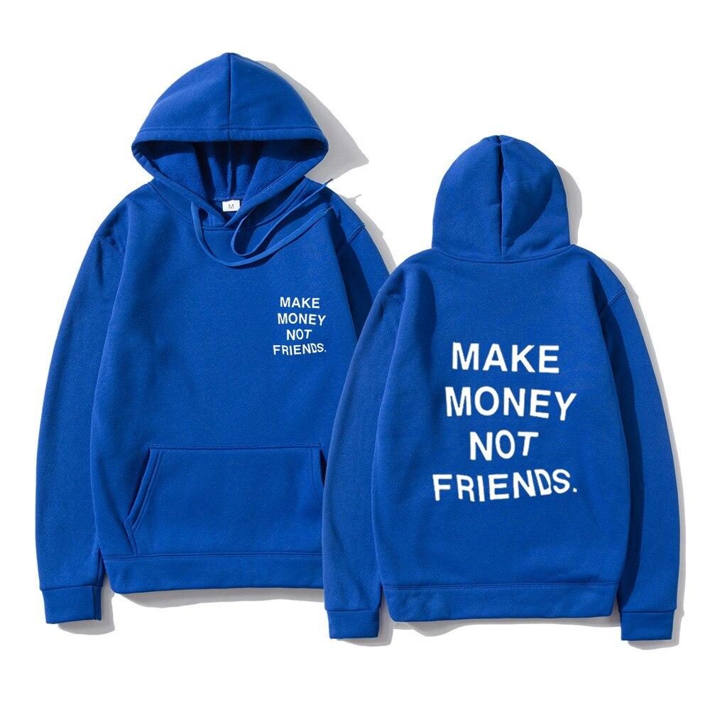 Толстовка Мужская/женская с капюшоном, уличная одежда, пуловер с принтом «Денежные деньги не друзья», Свитшот