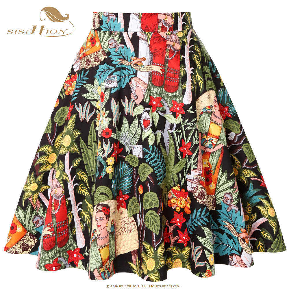 SISHION Retro Vintage Cotton Black Skirt VD0020 2020 Floral Animal Print Jupe Femme Rockabilly Swing Summer Ladies Women Skirt