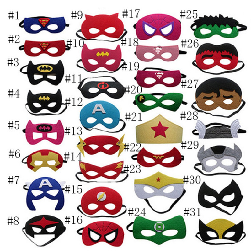 Superhero Mask Cosplay Superman Batman Spider-Man Hulk Raytheon Iron Man Princess Halloween Christmas Children Party Mask