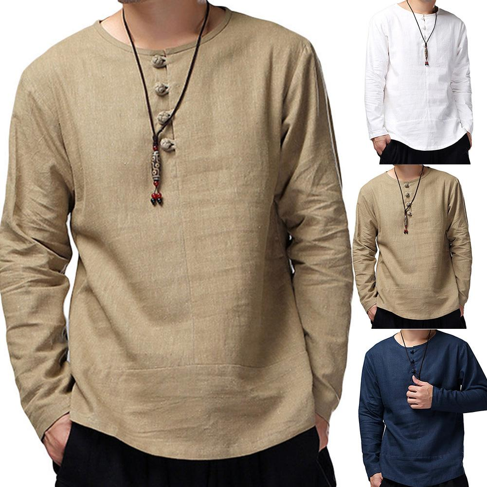 Men Spring Casual Solid Color Long Sleeve O Neck Buttons Cotton Loose Pullover Shirt