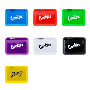 2020 New Style Weed backwoods runty cookies  Rolling Tray Herb Tobacco Plate electronic Smoke Cigarette Paper Tray LED Light