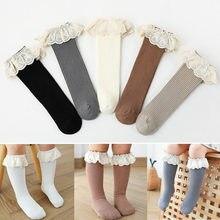 Nuevo calcetines de niñas bebé largo Calcetines niños rodilla longitud de bebé de algodón suave Calcetines niños 0-4 años hasta la rodilla Calcetines