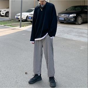 Korean Plaid Pants Men's Fashion Retro Casual Straight Pants Men Streetwear Wild Loose Hip-hop Wide Legs Trousers Mens M-XL