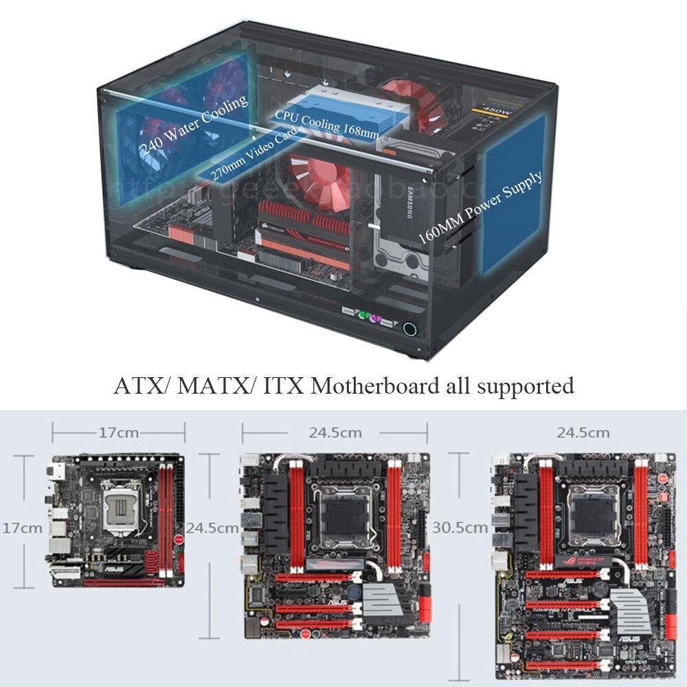 Horizontal Computer Case Support ATX MATX ITX Motherboard DIY Desktop Cases Acrylic Transparent PC Cases 1