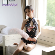 2 Colors Chinese Cheongsam Printing Flower Stripper Clothes Ropa Sexy Para El Sexo Exotic Lingerie Christmas Women
