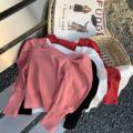 Новинка 2021, весенние шикарные футболки для маленьких девочек с пышными рукавами, вязаные топы, Детские однотонные футболки в Корейском стил...