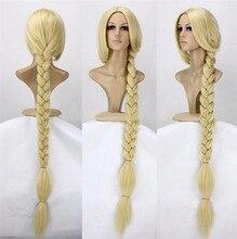 """Anime Tangled Prinses 120cm 47 """"Straight Blonde Super Lange Cosplay Pruik Rapunzel Synthetisch Haar Pruiken + Pruik Cap"""