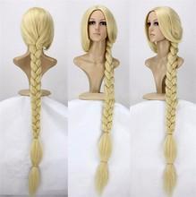 "Anime Tangled prenses 120cm 47 ""düz sarışın süper uzun Cosplay peruk Rapunzel sentetik saç peruk + peruk kap"