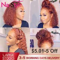 Парик из имбиря, оранжевый парик из натуральных волос на фронтальной части, цветной парик из 360 кружевных фронтальных париков, парики из нат...