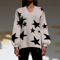 GypsyLady boho knitted stars Sweaters pullover 2019 autumn winter warm beige chic jumper oversized v neck long sleeve sweaters