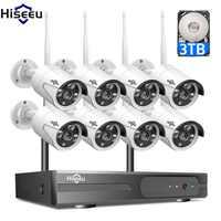 2MP 1080P système de vidéosurveillance 8ch HD sans fil NVR kit 3 to HDD extérieur IR Vision nocturne IP Wifi caméra système de sécurité Surveillance Hiseeu