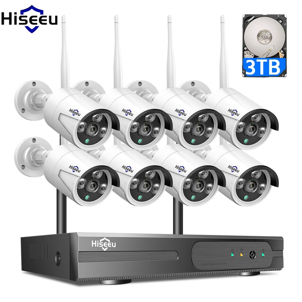 2mp 1080 p sistema de cctv 8ch hd sem fio nvr kit 3 tb hdd ao ar livre ir visão noturna ip wi fi câmera sistema segurança vigilância hiseeu