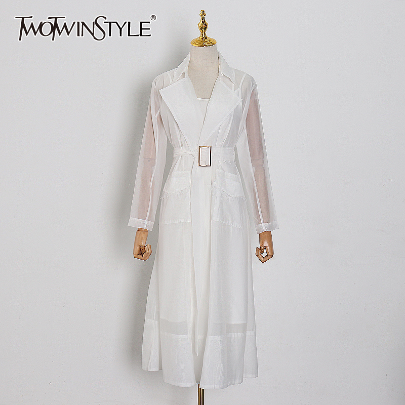 TWOTWINSTYLE Patchwork Tassel Women Dress Lapel Collar Long Sleeve High Waist With Sashes Split Dresses Female Fashion Clothing