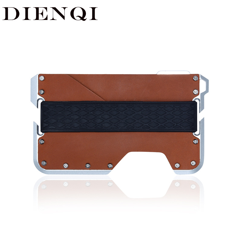 DIENQI Rfid Real Cow Genuine Leather Men Wallet Aluminum Metal Purse Slim Mini Card Holder Magic Wallet Short Small Money Walet