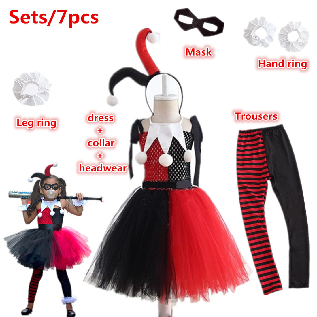 Halloween Costume For Kids Harry Quinn Anime Cosplay Costumes Carnival Party Children Clothing Sets Clown Female Dress For Girls