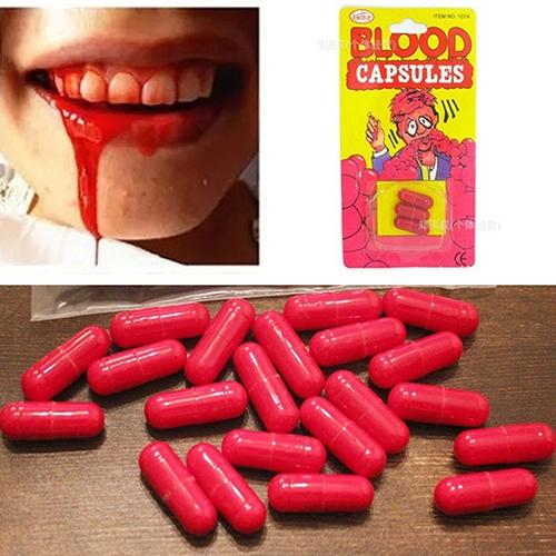 3Pcs/Box Horror Funny Halloween Prop Gag Realistic Fake Blood Pills Capsules