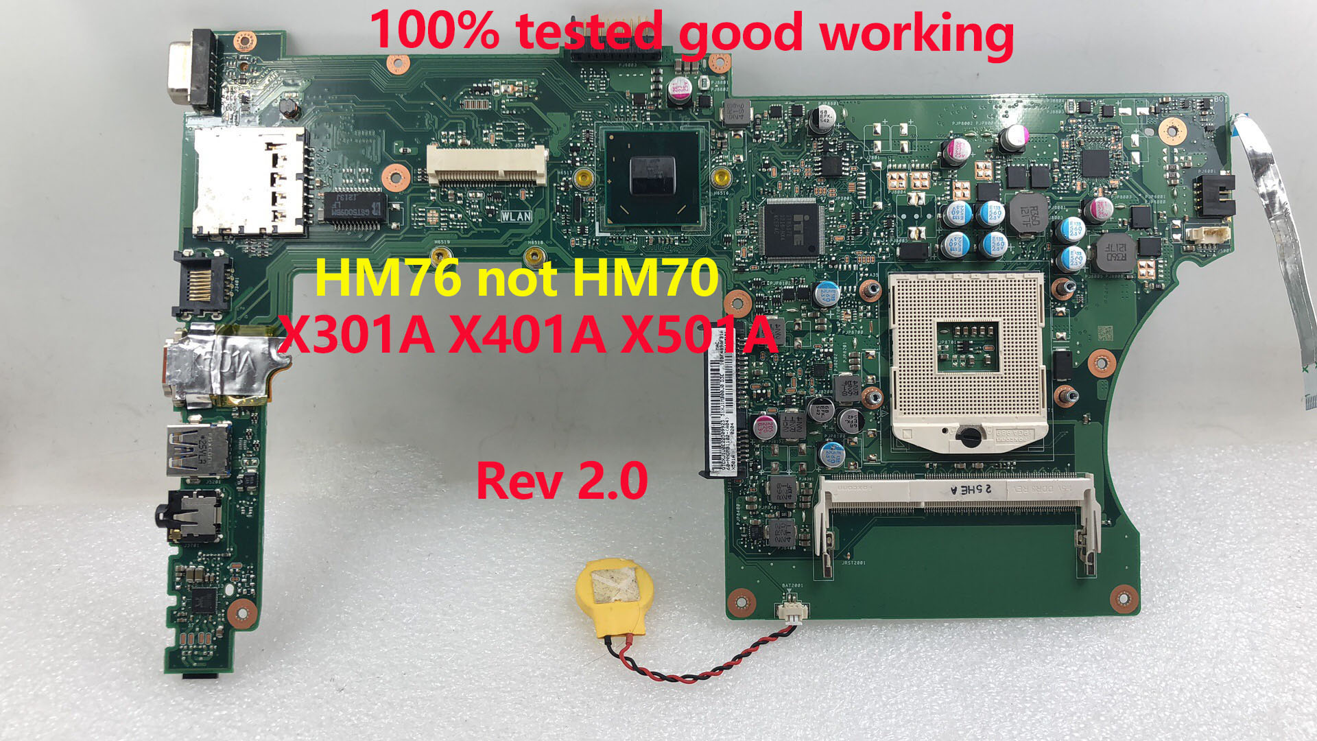 SHELI For ASUS X301A X401A X501A Laptop Motherboard X401A1 CPU SLJ8E HM76 Rev 2.0 Main Board Mainboard 100% Tested Ok