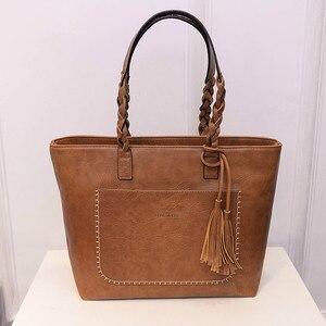 Image 1 - Женская сумка, женская сумка на плечо, Женская Ретро сумка тоут, женская новая модная сумка с кисточками, женские вместительные сумки
