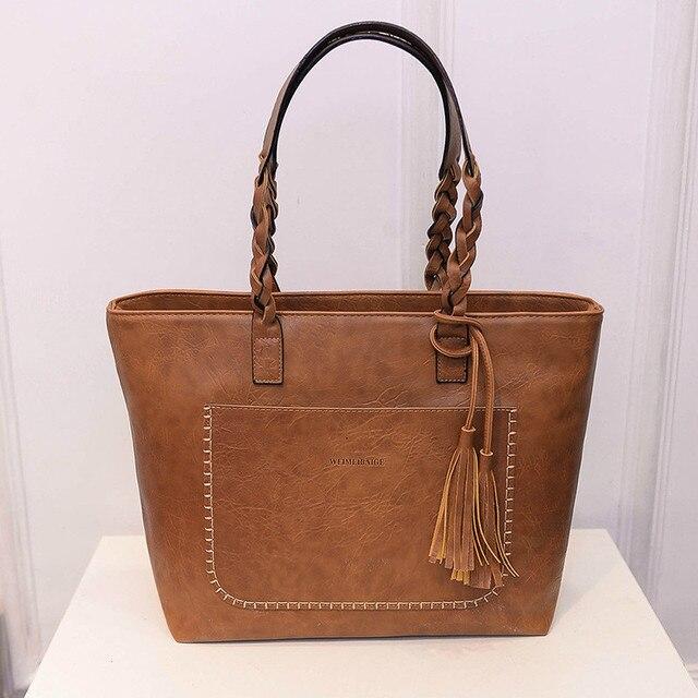 Женская сумка, женская сумка на плечо, Женская Ретро сумка тоут, женская новая модная сумка с кисточками, женские вместительные сумки