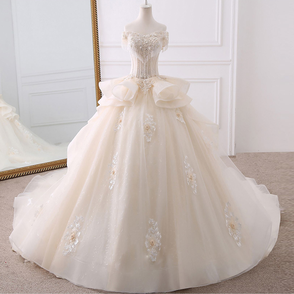 2020 Gorgoeus Ball Gown Wedding Dresses Vestido De Noiva Appliques Flowers Beading Crystal Shiny Bridal Dress Trouwjurk