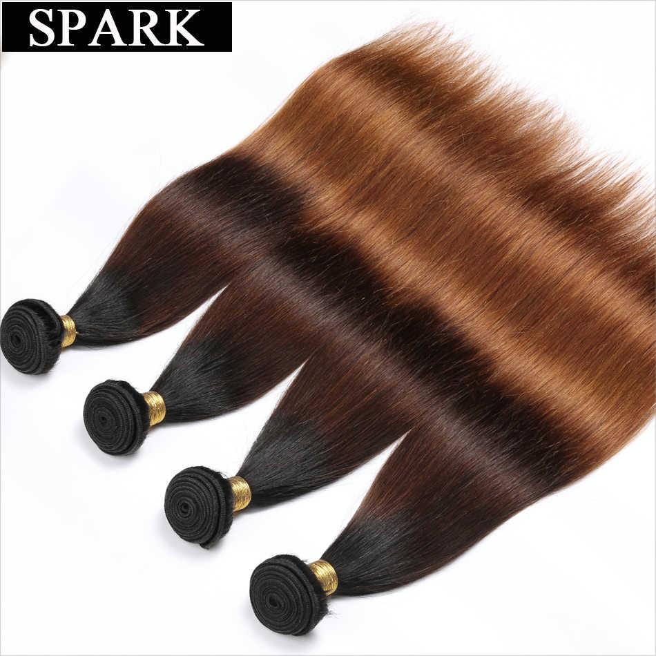 Spark 1B/4/30 & 1B/4/27 эффектом деграде (переход от темного к бразильские прямые волосы 1/3/4 шт. Волосы remy пучки волос плетение 100% Пряди человеческих волос для наращивания Инструменты для завивки волос