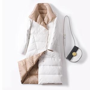 Image 2 - Duck Down Jacket Women Winter 2019 Outerwear Coats Female Long Casual Light ultra thin Warm Down puffer jacket Parka branded