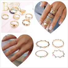 BOAKO Ring Set For Fingers Women Dainty Gold Crystal Rings Evil Eye Love Heart Star Party Girl candy anillos Z5