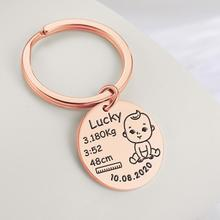 Personalized Keychain Jewelry Keyring Custom Commemorate Baby Name Girl Newborn Dad Gift