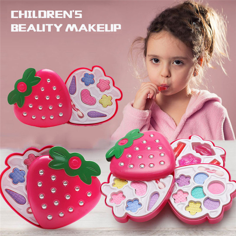 Kids Girls Makeup Set Eco-friendly Cosmetic Pretend Role Play Toy Family Party Game Tool Decor Kit 30N13