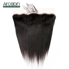 Aircabin Straight Lace Frontal Closure With Baby Hair Human Remy Brazilian Weaving Swiss