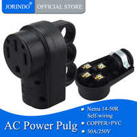JORINDO [Nema 14-50R] 50 Amp de alta resistencia RV EV conector de repuesto, Nema 14-50R hembra, 50AMP conector de montaje de alimentación de repuesto