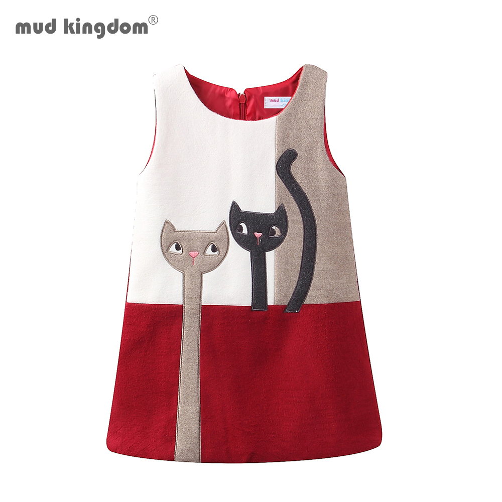 Mudkingdom Little Girls Dresses Sleeveless Wool Cute Cats Bunny Cartoon Winter A-Lined Kids Dress Girls Clothes 1