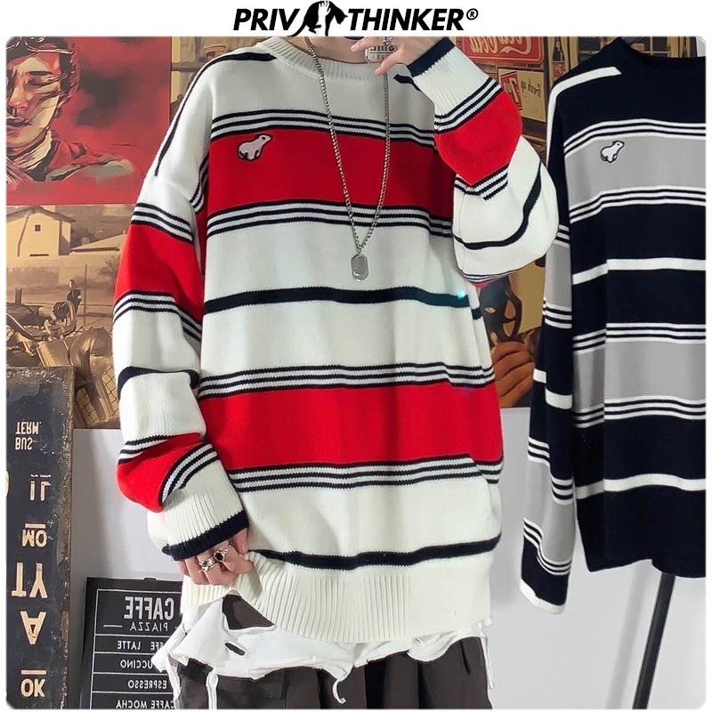 Privathinker Men Woman O-Neck Striped Carton Embroidery Sweaters Mens 2019 Autumn Korean Knitted Sweater Male Loose Pullovers