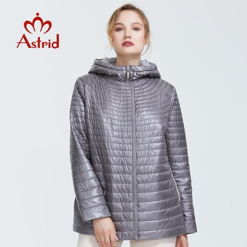 Astrid 2019 outono nova chegada superior cinza jaqueta feminina estilo curto parque com um capuz de algodão fino quente jaquetas femininas am-9128