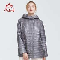 Astrid 2019 Autunno nuovo arrivo top grigio giacca delle donne di stile breve parco con un cappuccio sottile di cotone caldo delle donne giacche AM-9128