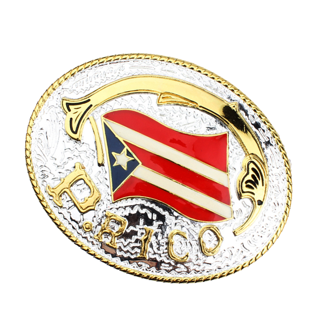 Novelty Design Puerto Rico Flag Men Patriot Belt Buckle National Day Fancy Jeans Decorations