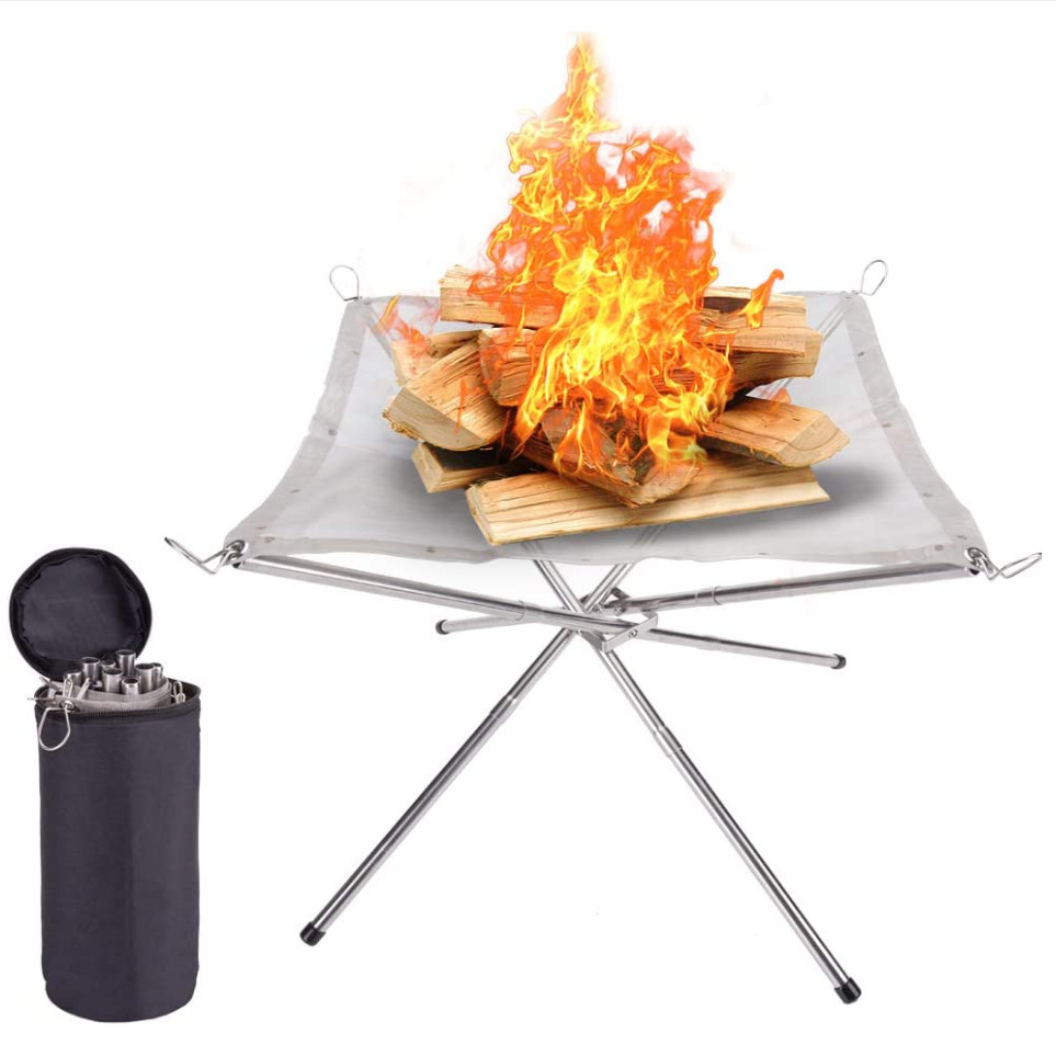 Outdoor Portable FirePit Contractile BBQ Holder Rack Folding Table Grill Stainless Steel Garden Point Charcoal Stove