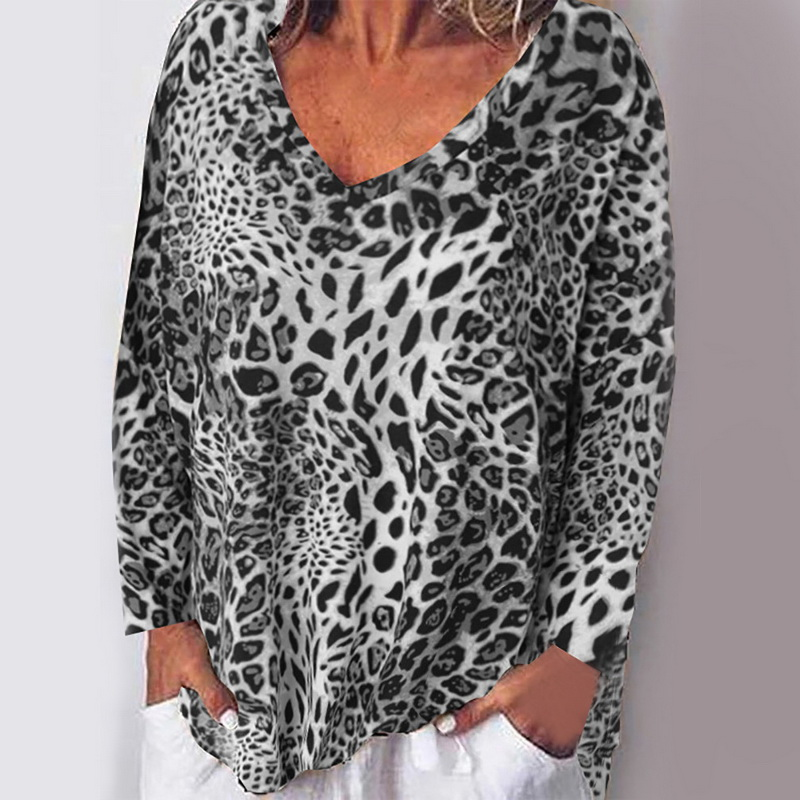 Women Spring Blouses Leopard Print Shirt 2020 Fashion New Female Long Sleeve Blusas Pullovers Tunic Shirts Chemise Plus Size 5XL