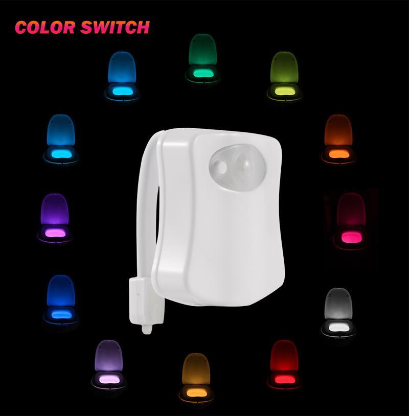 Tree-on-Life Smart LED Sensor de Movimiento Humano Ba/ño Activado Luz de Noche Ba/ño con 8 Colores L/ámpara de Asiento de Inodoro Sensor autom/ático Luz de Asiento