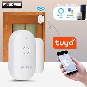 Fuers Tuya Smart WiFi Door Sensor Door Open / Closed Detectors Magnetic switch Window sensor home security Alert security alarm wireless door window sensor detector magnetic switch normally closed for our home security alarm system