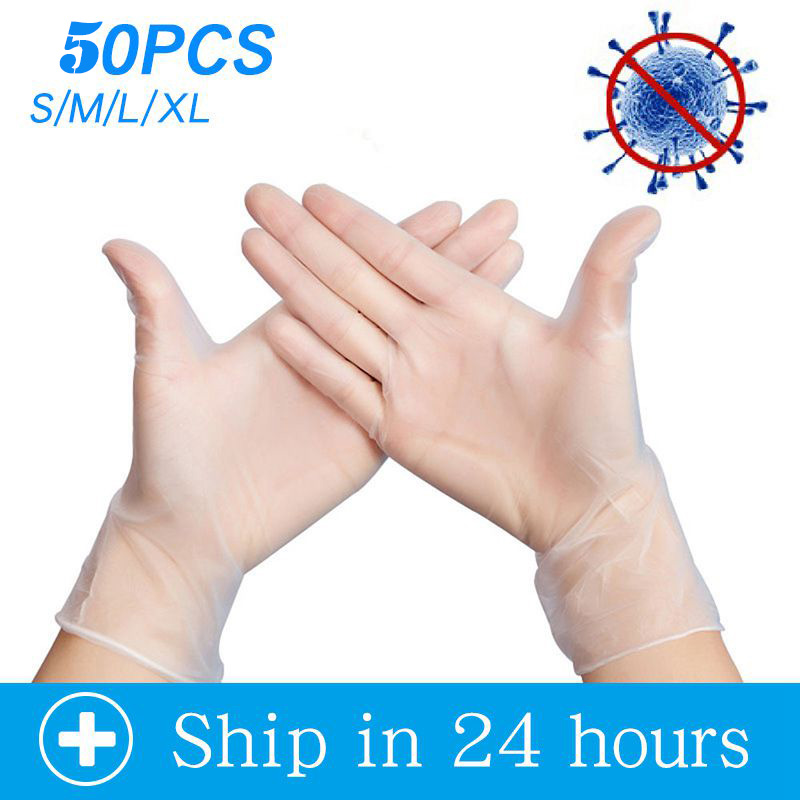 50PCS Disposable Latex Gloves Non-Slip PVC Disposable Inspection Gloves Hygienic Transparent Household Clean Protective Gloves