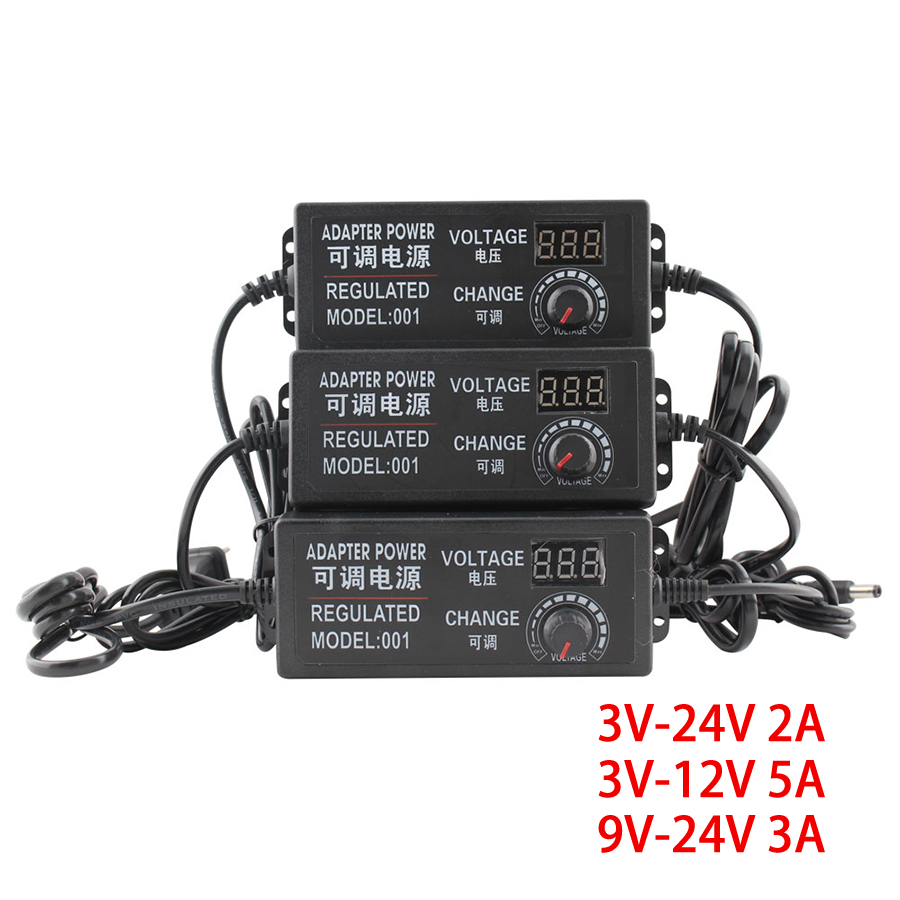<font><b>AC</b></font> <font><b>DC</b></font> Adjustable Power Supply <font><b>3V</b></font> <font><b>12V</b></font> <font><b>3V</b></font> 24V 9V 24V Power Supply Adapter 9-24V Universal Adapter With Regulation Display Screen image