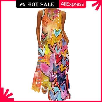 MOVOKAKA Heart Print Vintage Dress 2021 Party V Neck Summer Sundresses Elegant dresses Women Casual Beach Maxi Dresses For Women 1