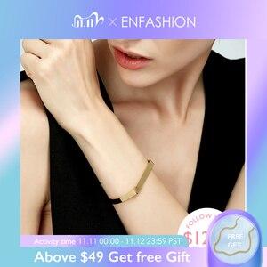 Image 1 - Enfashion Gravur Name Armband Gold Farbe Bar Schraube Armreifen Liebhaber Armbänder Für Frauen Männer Manschette Armbänder B4003 M